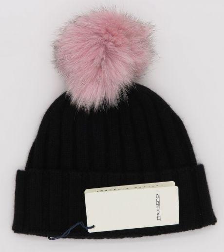 Black with pink pompom