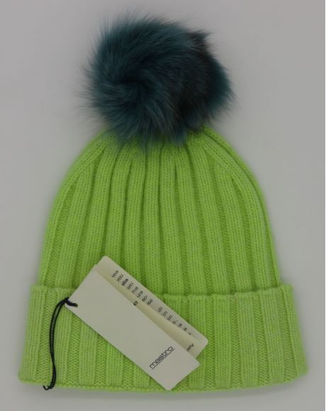 Lime green with Turquoise pompom
